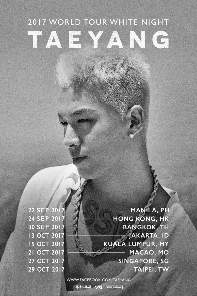 TAEYANG 2017 WORLD TOUR WHITE NIGHT IN ASIA announced