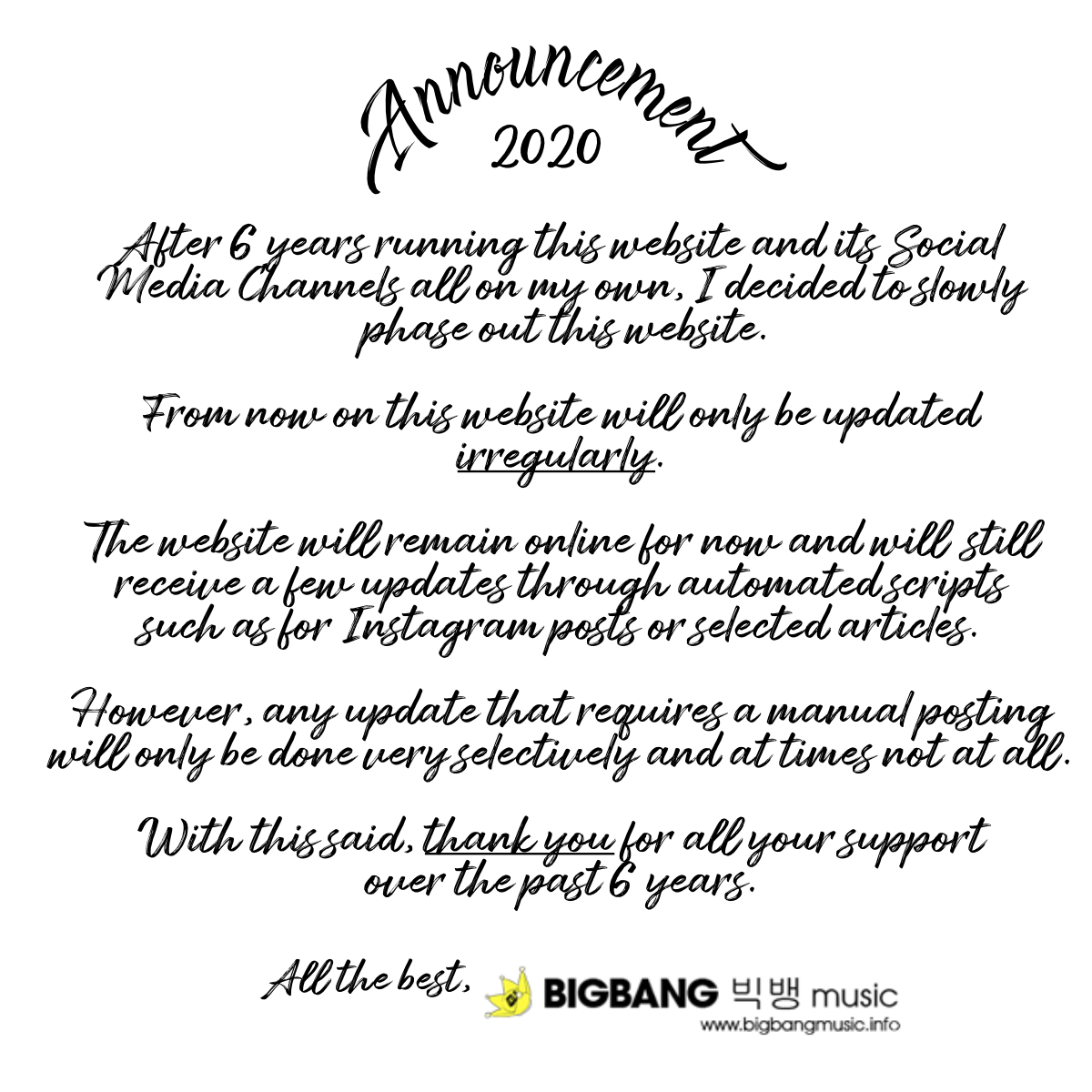 BIGBANGmusic 2020 Announcement