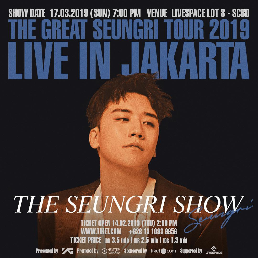 VIPS in JAKARTA!~THE SEUNGRI SHOW~ is making its final stop in Jakarta! THE GREAT SEUNGRI TOUR 2019 LIVE IN JAKARTA ~THE SEUNGRI SHOW~ ▶ DATE: 2019.03.17 (SUN) 7PM ▶ VENUE: LIVESPACE LOT 8▶ TOUR INFO - http://ygfamily.com/event/SEUNGRI/THESEUNGRISHOW #승리 #SEUNGRI #THE_SEUNGRI_SHOW #Thegreatseungritour2019live #JAKARTA #YG