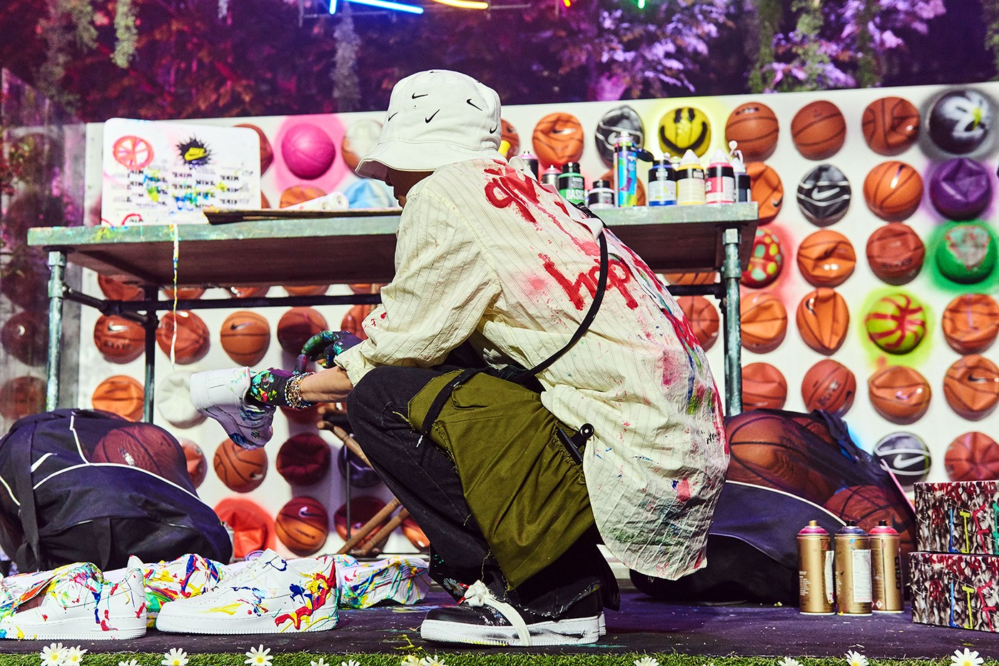 G-Dragon PEACEMINUSONE Nike Air Force 1 Para-Noise Launch seoul interview live art performance